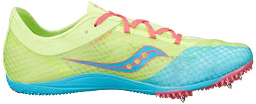 Saucony Womens Endorphin Spike Shoe Blue/Citron/Pink