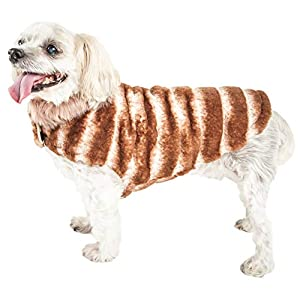 Pet Life ® Luxe 'Tira-Poochoo' Tiramisu Patterned Mink Dog Coat Jacket, X-Small, Brown Click on image for further info.
