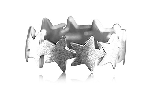 clásico dedo moda forma de estrella anillo de la suerte en oro de 14K sobre plata de ley