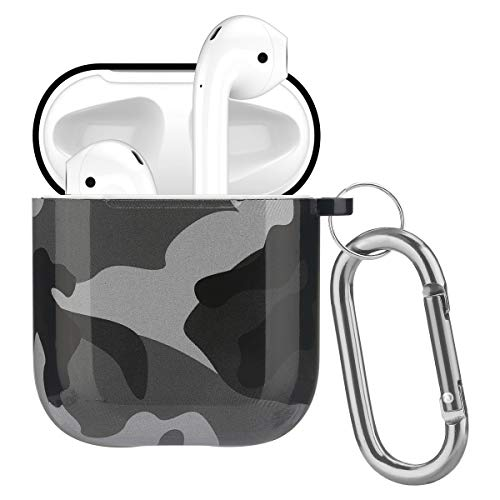 Airpods Case - Cute Airpods Accessories Protective Case Cover Portable & Shockproof Women Girls Men with Keychain for Airpods 2/1 Wireless Charging Case (01#Gray Camouflage)