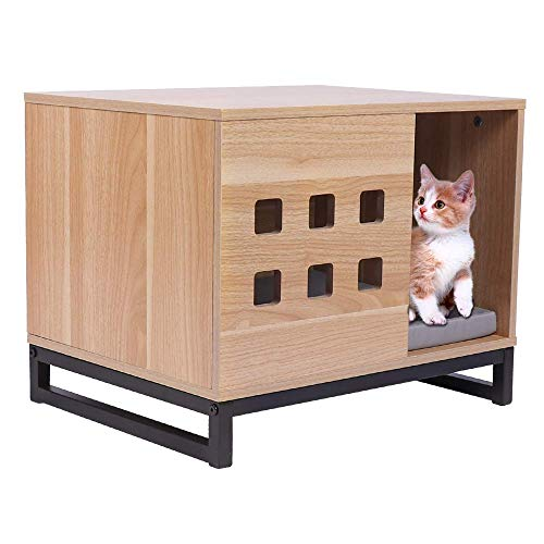 BBvilla Rectangle Wooden Pet House Ins Style Log Cabin with Entrance and Vents, Indoor Kennel for Small Dogs/Pets/Cats with Bed Mat