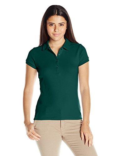 - IZOD Junior's Uniform Short Sleeve Interlock Polo, Forest Green, Small