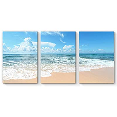 Alluring Handicraft, Classic Design, for Living Room Bedroom Home Artwork Paintings Romantic Beach x 3 Panels