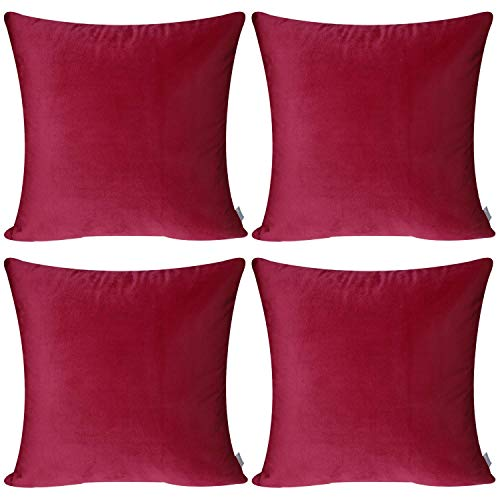 4 Pack Soft Velvet Cushion Covers,Comfortable Decorative Square Throw Pillow Covers for Sofa Bedroom Couch 18 x 18 Inch 45 x 45 cm(Cover Only,No Insert) (Wine Red)