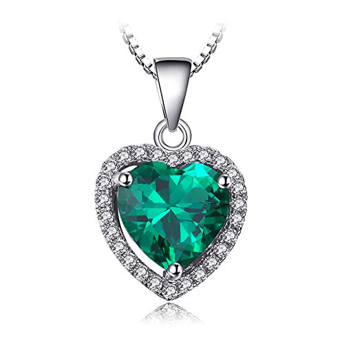 VERA NOVA JEWELRY Dashing 2.34Ct Green Synthetic Emerald Heart-Shape Sterling Silver Pendant Necklace with 18-inch Box -