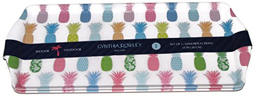 Cynthia Rowley Melamine Set of 2 Sandwich Trays PINEAPPLES
