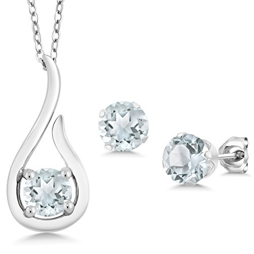 Gem Stone King 1.35 Ct Sky Blue Aquamarine 925 Sterling Silver Pendant Earrings Set With Chain