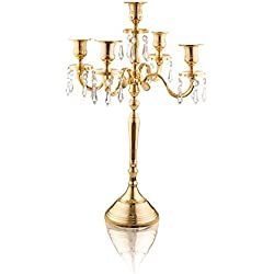 Klikel Classic 24 Inch Gold 5 Candle Candelabra - Classic Elegant Design - Wedding, Dinner Party And Formal Event Centerpiece - Gold Mirrored Finish With Hanging Acrylic Crystals