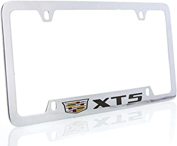 4 Hole Cadillac Escalade with Crest Brass License Plate Frame with Chrome Finish