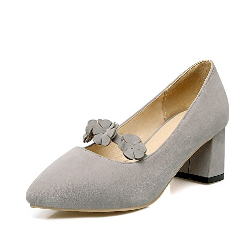 Women's Shoes Block Mouth Shallow Grey Heel Pointed Toe rrYAFqS