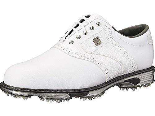 FootJoy Men's DryJoys Tour Golf Shoes, White/White Croc, 10 M US by FootJoy