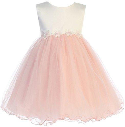 (BNY Corner Contrast Two-Tone Baby Flower Dress Blush XL JK 2689)