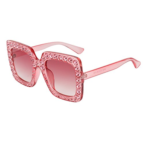 ROYAL GIRL Sunglasses For Women Oversized Square Luxury Crystal Frame Brand Designer Fashion Glasses (Pink-Gradient, - Oversized Sunglass