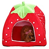 Dora Bridal Pet Cat Sleeping Bag, Cat House Self-Warming Comfortable Cat Bed Pet Sleep Bag Tent House, Cute Strawberry Pattern Soft Warm Cat Cuddle Nest, Washable, Easy to Store