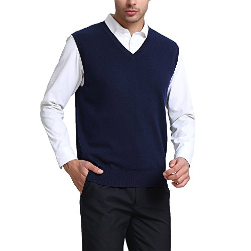 - Kallspin Men's Relax Fit V-Neck Vest Knit Sweater Cashmere Wool Blend Navy Blue, XXl