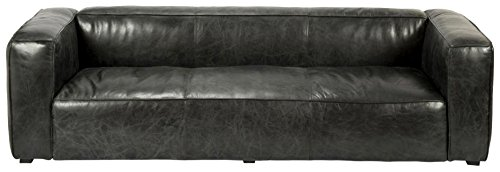 Moe's Home Collection Dirby Leather Sofa, Charcoal