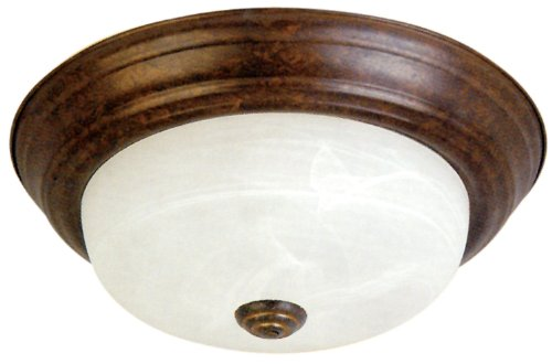 Yosemite Home Decor JK101-11DB 2-Light Flush Mount with Marble Glass Shade, Dark Brown, 11-Inch
