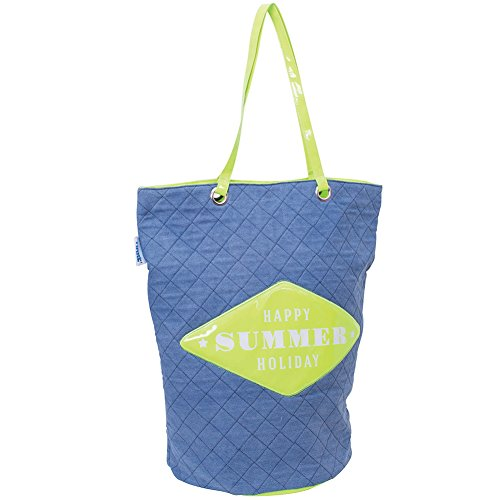 Borsa Mare Modello Sacco Spiaggia Con Manici 55 x 35 x 50 cm Shopper Mare Trendy Casual Poliestere Blue Jeans Con Stampa SUMMER Colori Assortiti Enrico Coveri Mare Collection Estate