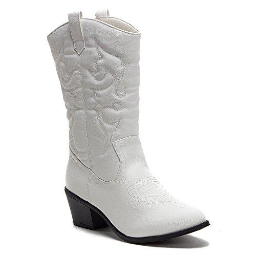 Tall Western Cowboy Boots - J'aime Aldo Women's TEX-25 Tall Stitched Western Cowboy Cowgirl Boots, White, 11