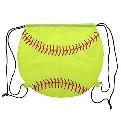 Opromo Basketball/Football/Softball 210D Polyester Drawstring Backpack Cinch Bag-Softball-1 pack ()