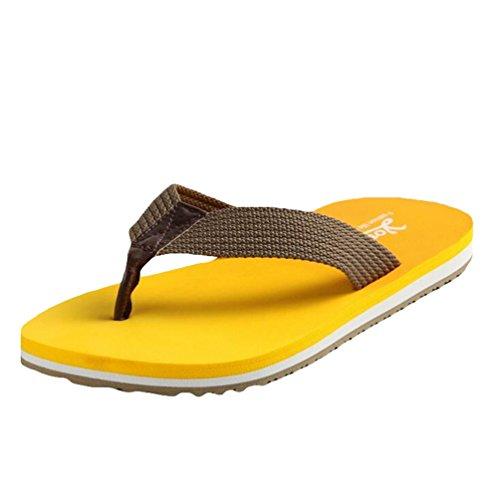 Yiiquan Hombre Chanclas Verano Piscina Zapatilla Casual Sandalias Flip Flops Amarillo