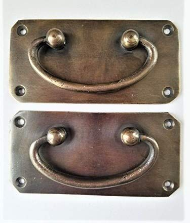Rare solid pair of antique vintage style box handles trunk carrying handle chest #P11 ()