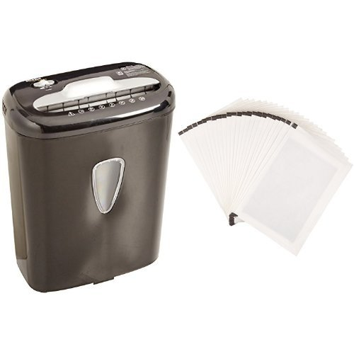 AmazonBasics 6-Sheet High-Security Micro-Cut Paper Shredder and Shredder Sharpening & Lubricant Sheets (Pack of 24) Bundle