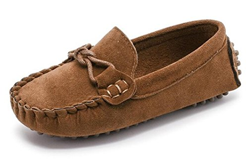 Bumud Girl's Boy's Moccasin Faux Suede Slip-On Loafers Shoes(Toddler/Little Kid) (13 M US Little Kid, Brown)]()