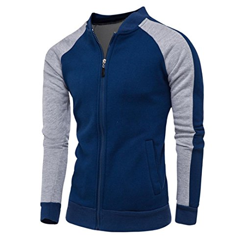 WM & MW Fashion Men's Sweatshirts Patchwork Leisure Sports Zipper Jacket Cardigan Tops Coat Baseball Outwear (3XL=(US:2XL), Navy) by WM & MW