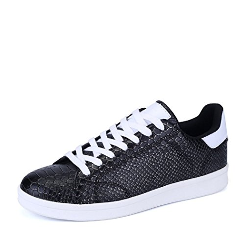 An'Dee Men's Fashionable Cool Texture PU Leather Lace-up Comfortable Casual Shoes