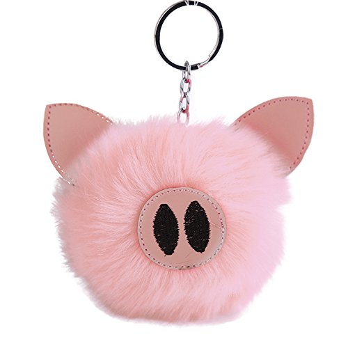 (liyhh Fluffy Handbag Pendant Embroidered Key Ring Piglets Keychain Light Pink)