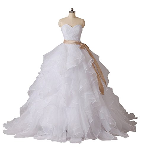 (Victoria Prom Wedding Dresses Sweetheart Sleeveless Wedding Gowns Floor length Ruffled Bridal Ivory us17w)