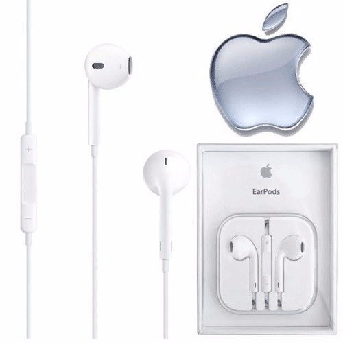 Apple EarPods OEM 3.5mm Headset Jack ONLY for iPhone 6, 6S, 6 + and older; Compatible with iPhone 7, 8 and X (ONLY IF You already own ADAPTER), Wired, White with Mic and Vol Controls in Crystal Case