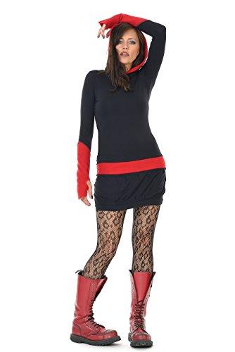 Rosso donna pile con casual vestito Nero 3Elfen cappuccio nq8Tw6x1W0