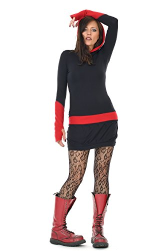 e899d4cd1239 3Elfen Hoodie dress winter black fleece gauntlets red XXL