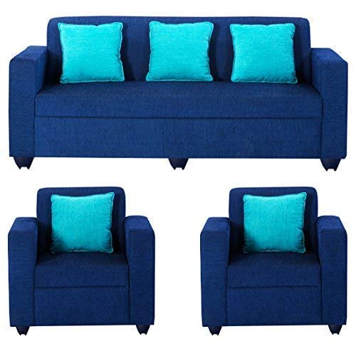 Bharat Lifestyle Desy 5 Seater Sofa Set 3+1+1  Blue
