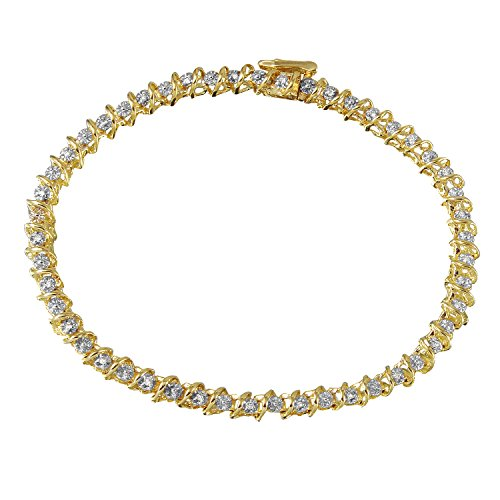 0.12 Carat Natural Light Champagne Diamond 10K Yellow Gold Tennis Bracelet for (0.12 Ct Natural)