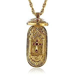 Symbols of Faith Inspirations 14k Gold-Dipped Red Swing Open Enclosed Crucifix Pendant Necklace