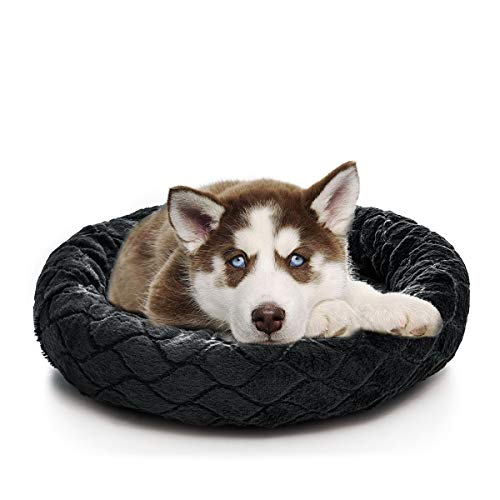SHU UFANRO Small Dog Bed Round Donut for Crate Comfortable Pet Bed Pillow Washable Pad Soft Cat and Dog Cushion Bed (Black)