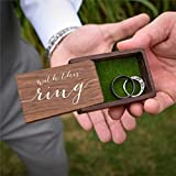 Rustic Wood Ring Box with Faux Moss Interior Engagement Ring Bearer Box Holder, Custom Modern With This Ring Wedding Rings Box