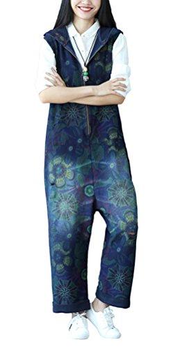 Soojun Women's Floral printed Wide Leg Denim Bib Overalls Jumpsuits Blue