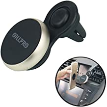 Universal Car Phone Mount Magnetic Air Vent Magnetic Car Mount Metal aluminum frame magnetic seat for iPhone 7/7Plus/6s/6Plus/5S, Galaxy S5/S6/S7/S8, Google Nexus, LG, Huawei and More (Gold)