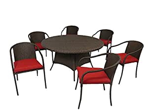 "Creative Living 10093558-STW Boli 7pc 56"" Round Dining Set w/Stacking Chairs, Ribbed Strawberry"