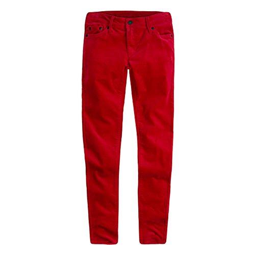 Pants Jeans Velvet (Levi's Girls' Big 710 Super Skinny Fit Velvet Jeans, Jester red, 8)