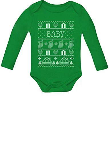 Tstars Baby Boy/Baby Girl Ugly Christmas Sweater Cute Baby Long Sleeve Bodysuit 6M Green