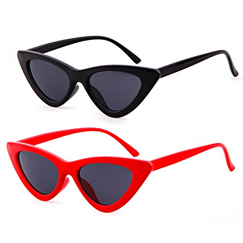 Clout Goggles Cat Eye Sunglasses Vintage Mod Style Retro Kurt Cobain Sunglasses (Black&Red(2 pairs), - Sunglasses For Face Your Suitable