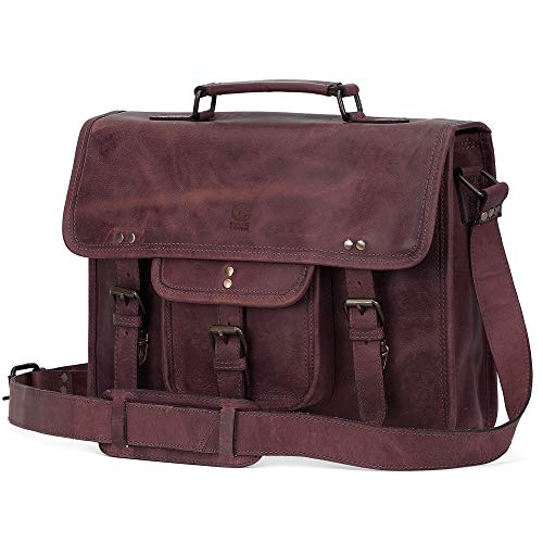 15 Inch Leather Vintage Rustic Crossbody Messenger Satchel Bag Gift Men Women ~ Business Work Briefcase Carry Laptop Computer Book Handmade Rugged & Distressed - Korchmar Leather Satchel