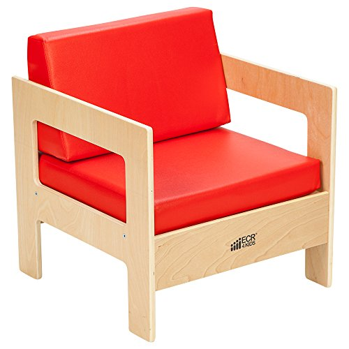 ECR4Kids Birch Hardwood Children's Living Room Set, 4 Piece Set, Red