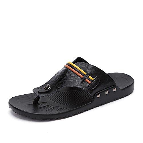 Sandali di cuoio genuini, nero, UK = 7.5, EU = 41 1/3