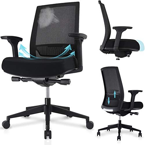 HAIAOJIA Ergonomic Mesh Office Chair Adjustable Height/Width Computer Desk Chair